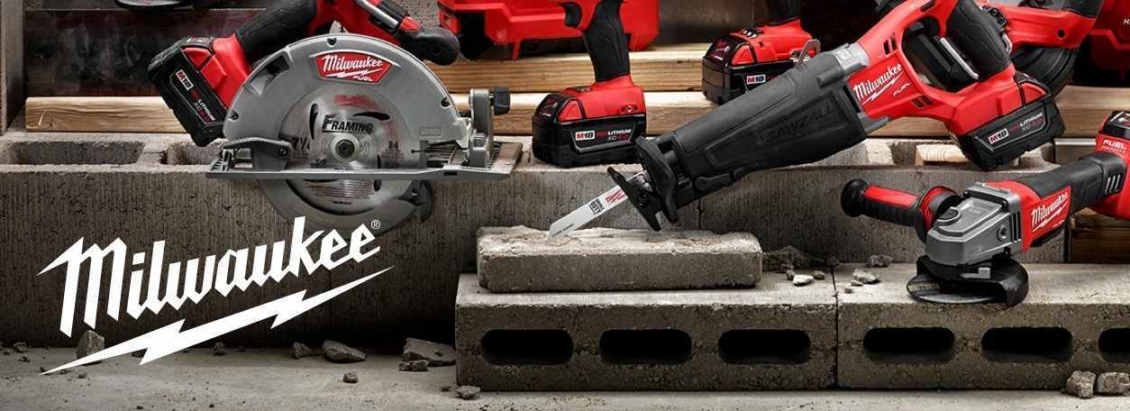 Milwaukee Tools displayed on cinder blocks