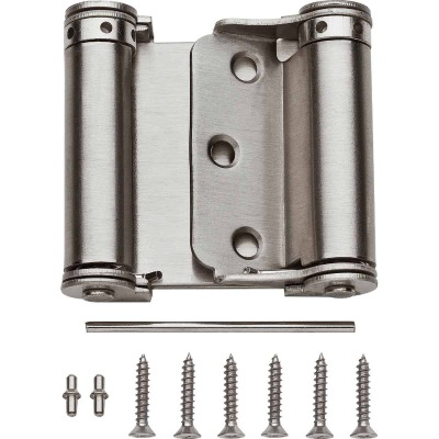 National 3 In. Satin Nickel Double-Acting Spring Door Hinge