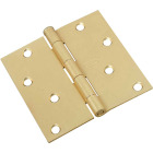 National 4 In. Square Satin Brass Door Hinge Image 1