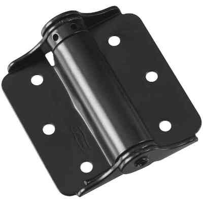 National 3 In. Black Full-Surface Spring Door Hinge (2-Pack)