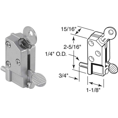 Defender Security Aluminum Step-On Keyed Patio Door Lock