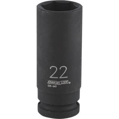 Channellock 1/2 In. Drive 22 mm 6-Point Deep Metric Impact Socket