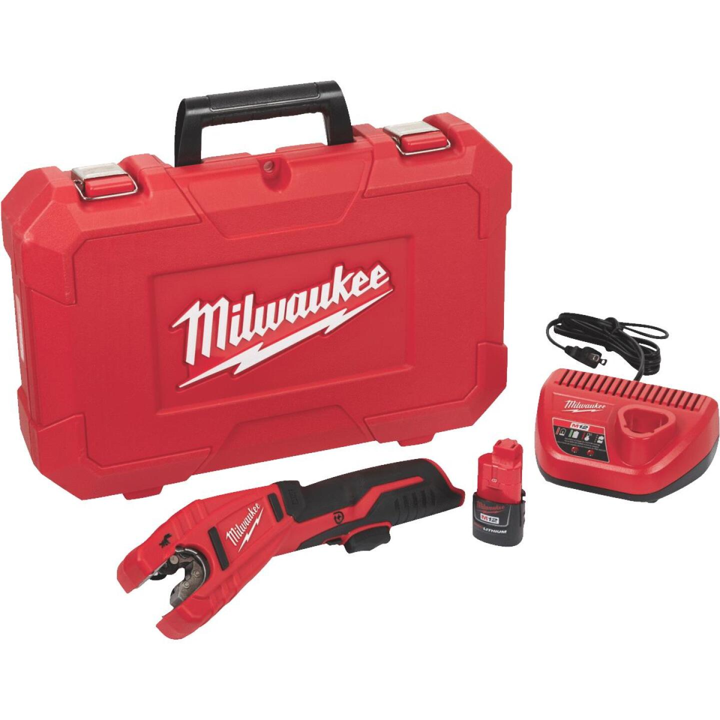 Milwaukee M12 12 Volt Lithium-Ion Copper Cordless Pipe Cutter Kit Image 1