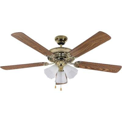 Home Impressions Sherwood 52 In. Polished Brass Ceiling Fan with Light Kit