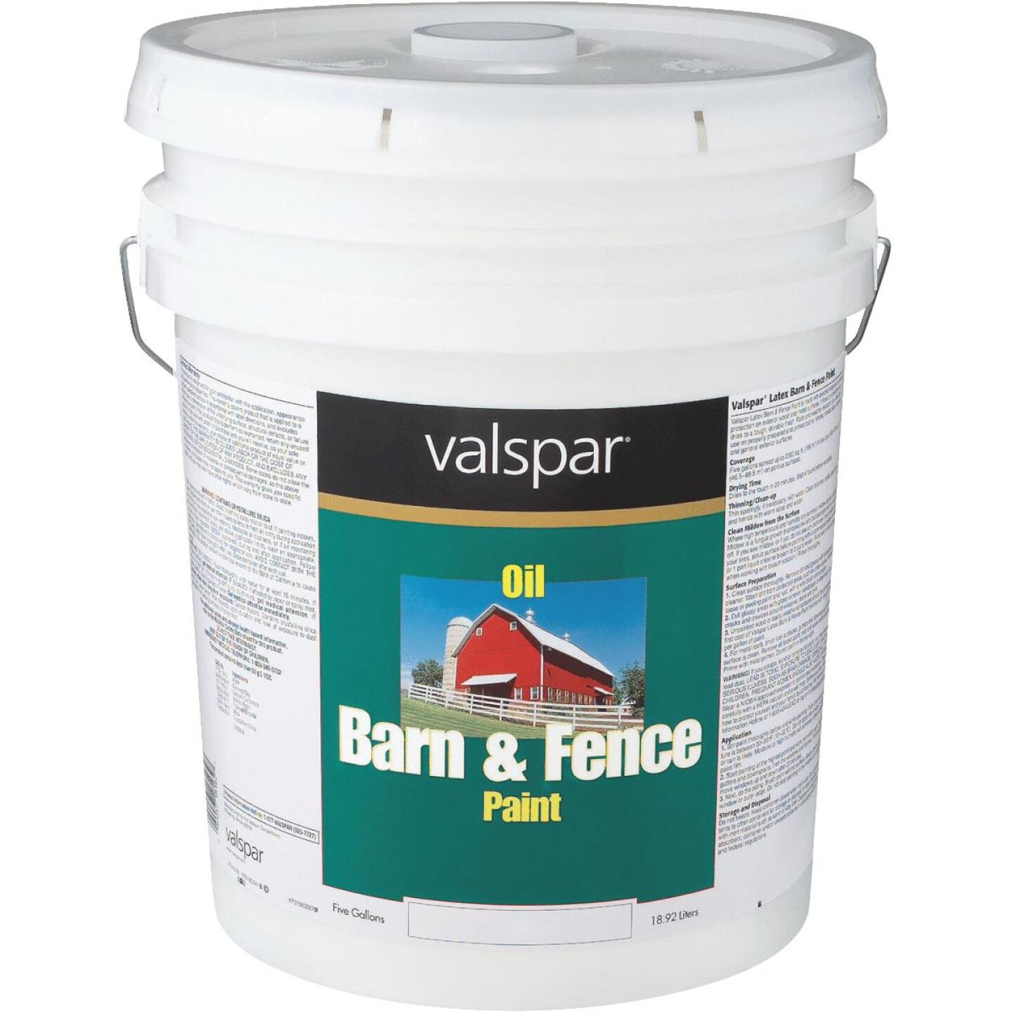 Valspar Oil Paint & Primer In One Low Sheen Barn & Fence Paint, Red, 5 Gal. Image 1